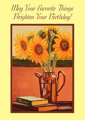 Painting - Sunflower Still Life Card by Ruth Soller