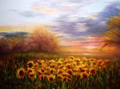 Painting - Sunflower Sunset by Patti Gordon