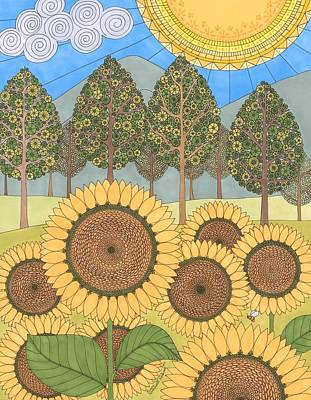 Drawing - Sunflower Sunshine by Pamela Schiermeyer