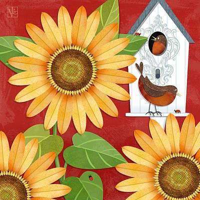 Sunflower Surprise Art Print by Valerie Drake Lesiak