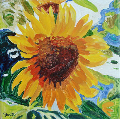 Sunflower Tile  Art Print by Susan Duda