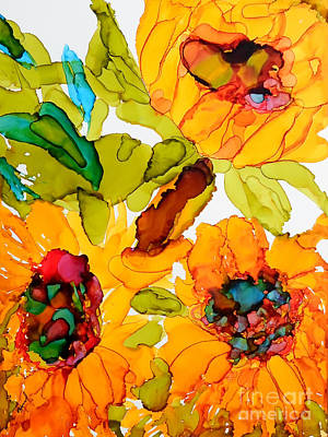 Sunflower Trio Art Print by Vicki  Housel