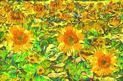 Photograph - Sunflower Vangoghes In A Field by Alice Gipson