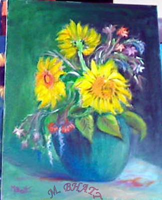Sunflower Vase Art Print by M Bhatt