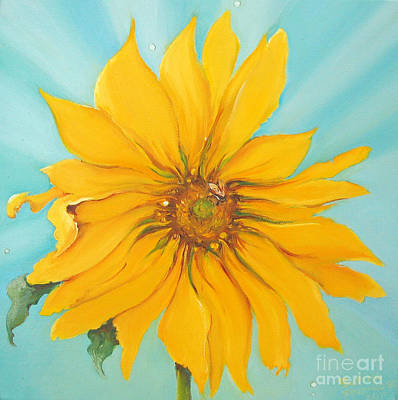 Sunflower With Bee Print by Bettina Star-Rose