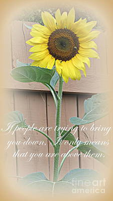 Photograph - Sunflower With Quote by Kay Novy