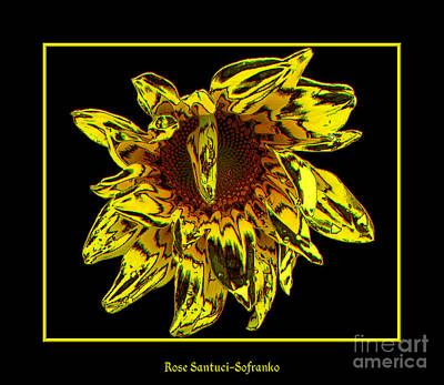 Sunflower Photograph - Sunflower With Stone Effect by Rose Santuci-Sofranko