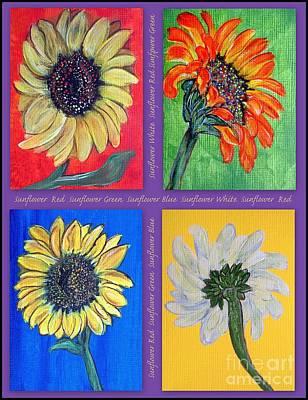 Mosaic-collage Mixed Media - Sunflowers 4 U by Ella Kaye Dickey