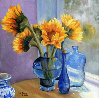 Sunflowers And Blue Bottles Art Print