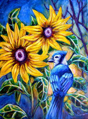 Sunflowers And Blue Jay Art Print