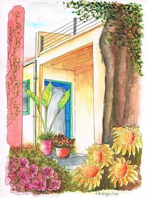 Sunflowers And Bougainvilleas In Venice Beach - California Original by Carlos G Groppa