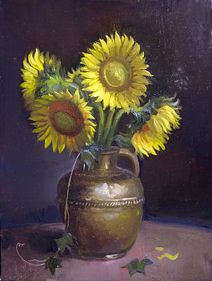 Painting - Sunflowers And Brass by Keith Gunderson