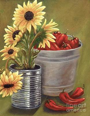 Sunflowers And Chilies Original by Donna Vesely