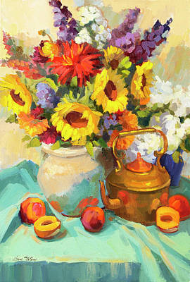 Sunflowers And Copper Original by Diane McClary