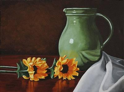 Sunflowers And Green Water Jug Art Print by Daniel Kansky