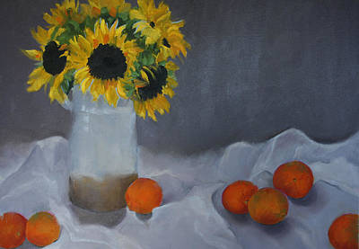 Painting - Sunflowers And Oranges by Barbara Jones