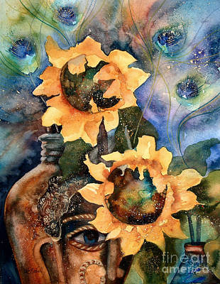 Sunflowers And Peacock Feathers Art Print by Kate Bedell