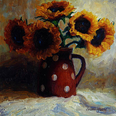 Pitcher Painting - Sunflowers And Polka Dots by Jeanne Young