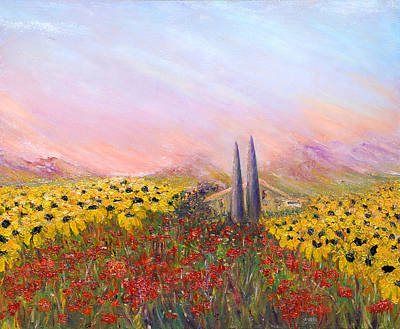 Sunflowers And Poppies Art Print