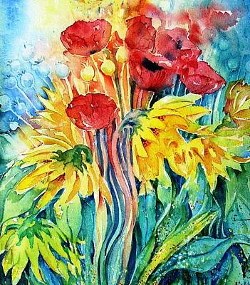Watercolour Art Painting - Sunflowers And Poppies  by Trudi Doyle