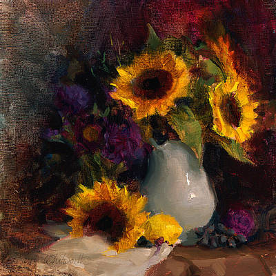 Sunflowers Royalty-Free and Rights-Managed Images - Sunflowers and Porcelain Still Life by Karen Whitworth
