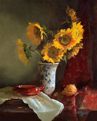 Painting - Sunflowers And Red Saucer by Viktoria K Majestic
