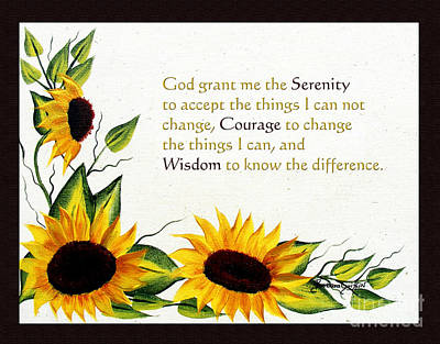 Sunflowers And Serenity Prayer Art Print by Barbara Griffin