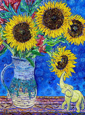 Happy Elephant Painting - Sunflowers And White Elephant by Linda J Bean