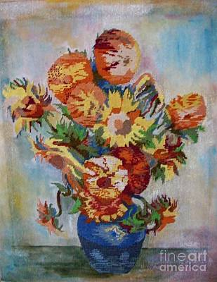 Custom Made Embroidery Tapestry - Textile - Sunflowers by Armen Abel Babayan