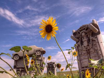 Photograph - Sunflowers At Carhenge by HW Kateley