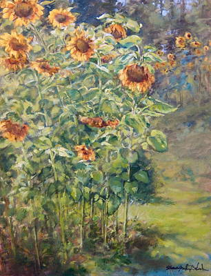 Worthy Painting - Sunflowers At Watermelon Farm by Sharon Jordan Bahosh
