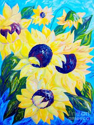 Kitchen Painting - Sunflowers Bathed In Light by Eloise Schneider