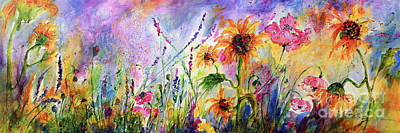Painting - Sunflowers Bees Pink Poppies Wildflowers by Ginette Callaway