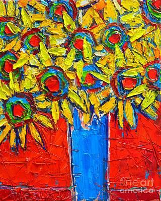 Sunflowers Bouquet In Blue Vase Art Print by Ana Maria Edulescu