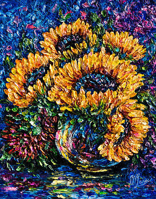 Painting - Sunflowers Bouquet In Vase by OLena Art Brand