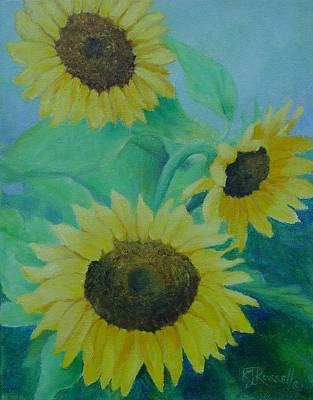 Painting - Sunflowers Bouquet Original Oil Painting by Elizabeth Sawyer