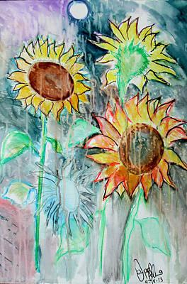 Painting - Sunflowers Calm  by Jon Baldwin  Art