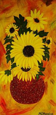 Art Print featuring the painting Sunflowers by Celeste Manning