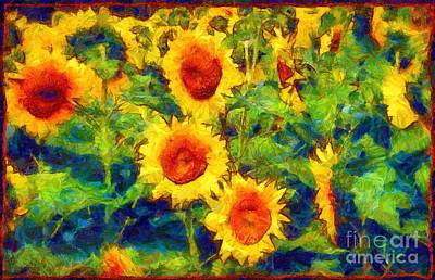 Sunflowers Dance In A Field Art Print