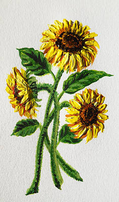 Sunflowers Royalty-Free and Rights-Managed Images - Sunflowers Dance by Irina Sztukowski