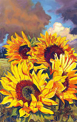 Pastel - Sunflowers by David Randall