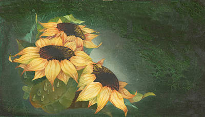 Wet Painting - Sunflowers by Doreta Y Boyd