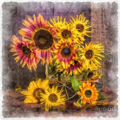 Sunflowers Royalty-Free and Rights-Managed Images - Sunflowers by Edward Fielding