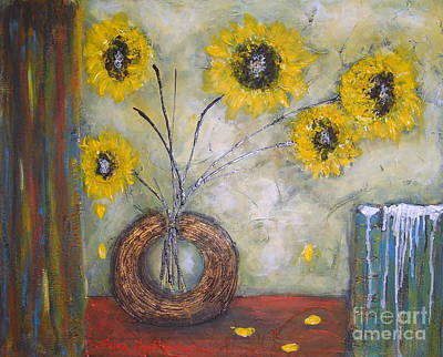 Painting - Sunflowers by Elena  Constantinescu