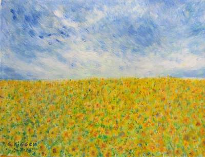 Sunflowers  Field In Texas Art Print