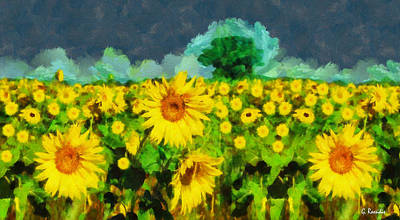 Lake Painting - Sunflowers by George Rossidis