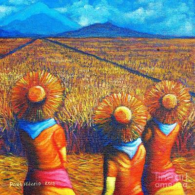 Rice Field Painting - Sunflowers II by Paul Hilario