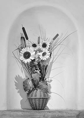 White Flower Photograph - Sunflowers In A Basket by Christine Till