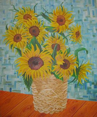 Painting - Sunflowers In A Basket. by Nina Mitkova