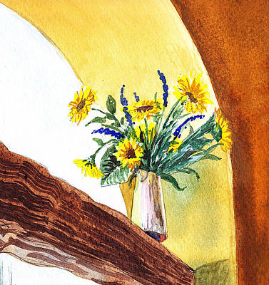 Beautiful Landscape Painting - Sunflowers In A Pitcher by Irina Sztukowski